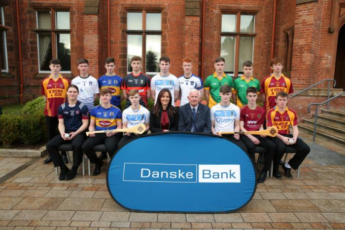 Aisling Press, Head of Branch Banking at Danske Bank and Jimmy Smith, Chairman of the Ulster Schools GAA pictured with the Hurling All Stars.