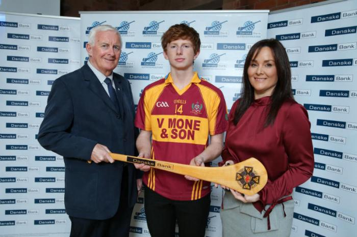 Aisling Press, Head of Branch Banking at Danske Bank and Jimmy Smith, Chairman of the Ulster Schools GAA pictured with 2017/18 Danske Bank Ulster Schools' Football All Star. 14 Paul Green, St Patrick's Keady