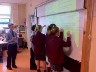 Year 8 Pupils annotating 'Jabberwocky'